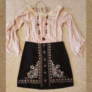 NWOT! Black Embroidered Skirt